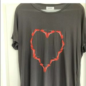 Lauren Moshi Black Tee -red shoe heart collection